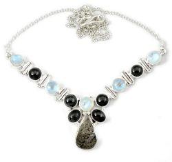 925 sterling silver natural grey meteorite gun metal moonstone necklace h92994