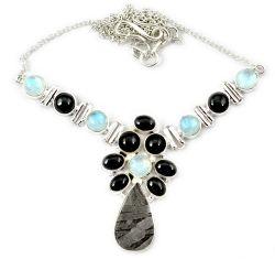 925 sterling silver natural grey meteorite gun metal moonstone necklace h92996