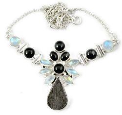 925 sterling silver natural grey meteorite gun metal moonstone necklace h92998