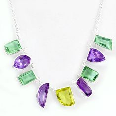 925 sterling silver 45.50cts natural lemon topaz purple amethyst necklace p43763