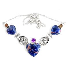925 sterling silver 51.20cts natural orange sodalite amethyst necklace p47634