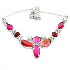925 sterling silver 44.33cts natural pink tourmaline red garnet necklace p81483