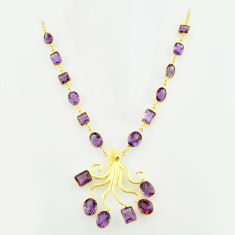 925 sterling silver 70.24cts natural purple amethyst 14k gold necklace p74947
