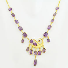 925 sterling silver 58.00cts natural purple amethyst 14k gold necklace p74971