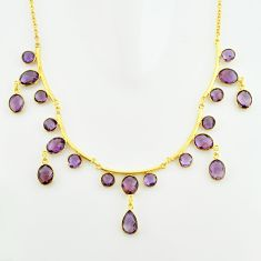 925 sterling silver 52.33cts natural purple amethyst 14k gold necklace p74984