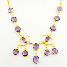 925 sterling silver 31.83cts natural purple amethyst 14k gold necklace p75036