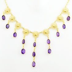925 sterling silver 26.80cts natural purple amethyst 14k gold necklace p75046