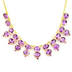 925 sterling silver 55.69cts natural purple amethyst 14k gold necklace p91764