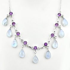 925 sterling silver 49.44cts natural rainbow moonstone amethyst necklace p81495