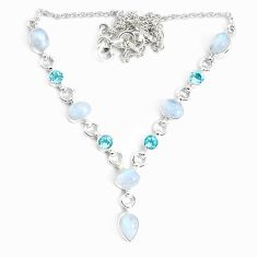 925 sterling silver 18.31cts natural rainbow moonstone topaz necklace p34720