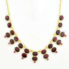 925 sterling silver 57.70cts natural red garnet 14k gold necklace jewelry p74911