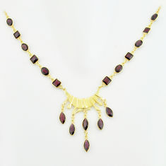 925 sterling silver 38.14cts natural red garnet 14k gold necklace jewelry p74932