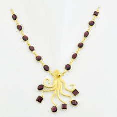 925 sterling silver 40.20cts natural red garnet 14k gold necklace jewelry p74956