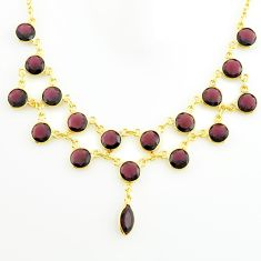 925 sterling silver 37.50cts natural red garnet 14k gold necklace jewelry p75004