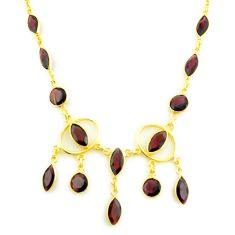 925 sterling silver 22.92cts natural red garnet 14k gold necklace jewelry p75023