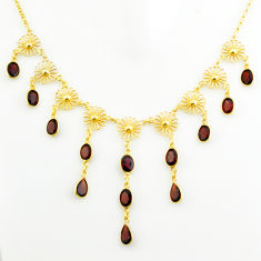 925 sterling silver 28.57cts natural red garnet 14k gold necklace jewelry p75058
