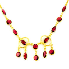 925 sterling silver 33.85cts natural red garnet 14k gold necklace jewelry p91684