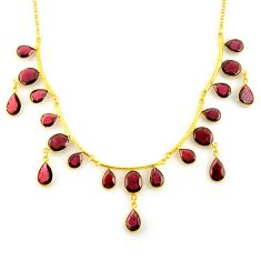 925 sterling silver 58.49cts natural red garnet 14k gold necklace jewelry p91704