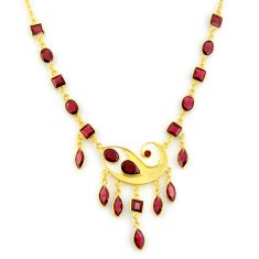 925 sterling silver 40.06cts natural red garnet 14k gold necklace jewelry p91716
