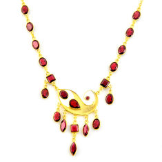 925 sterling silver 39.70cts natural red garnet 14k gold necklace jewelry p91719