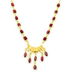 925 sterling silver 35.10cts natural red garnet 14k gold necklace jewelry p91739