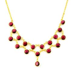 925 sterling silver 32.35cts natural red garnet 14k gold necklace jewelry p91748