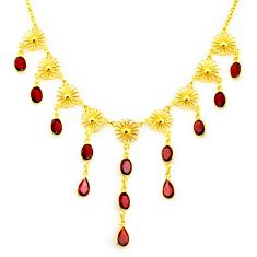 925 sterling silver 27.86cts natural red garnet 14k gold necklace jewelry p91758