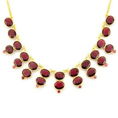 925 sterling silver 67.89cts natural red garnet 14k gold necklace jewelry p91772