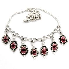 925 sterling silver 18.00cts natural red garnet necklace jewelry p89156