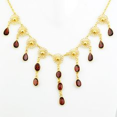 925 sterling silver 27.05cts natural red garnet oval 14k gold necklace p75060