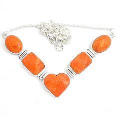 925 sterling silver 51.73cts natural red sponge coral necklace jewelry p70776