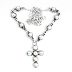 925 sterling silver 14.12cts natural white pearl cross necklace jewelry p48219