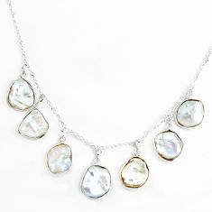 925 sterling silver 18.14cts natural white pearl fancy necklace jewelry p43323
