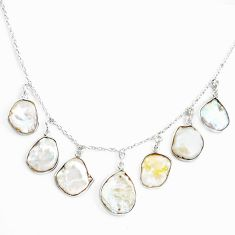 925 sterling silver 18.73cts natural white pearl fancy necklace jewelry p43326