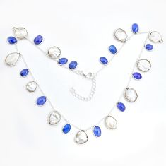925 sterling silver 40.66cts natural white pearl tanzanite necklace p43411