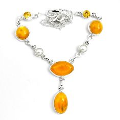 925 sterling silver 31.46cts natural yellow amber bone citrine necklace p69692