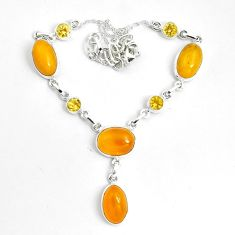 925 sterling silver 31.46cts natural yellow amber bone citrine necklace p69696