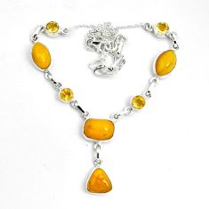 925 sterling silver 28.85cts natural yellow amber bone citrine necklace p69699