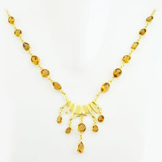 925 sterling silver 47.10cts natural yellow citrine 14k gold necklace p74938
