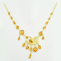 925 sterling silver 41.42cts natural yellow citrine 14k gold necklace p74968