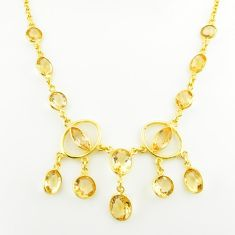 925 sterling silver 27.63cts natural yellow citrine 14k gold necklace p75032