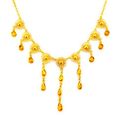 925 sterling silver 24.64cts natural yellow citrine 14k gold necklace p91755