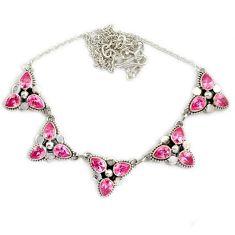 925 sterling silver pink kunzite (lab) pear cut necklace jewelry j2347