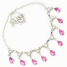 925 sterling silver pink kunzite pearl necklace jewelry h70193