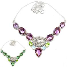 925 sterling silver purple alexandrite (lab) peridot necklace jewelry h89419