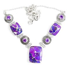925 sterling silver 59.87cts purple copper turquoise amethyst necklace p47424