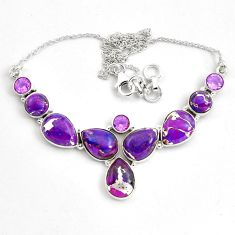 925 sterling silver 41.40cts purple copper turquoise amethyst necklace p81489