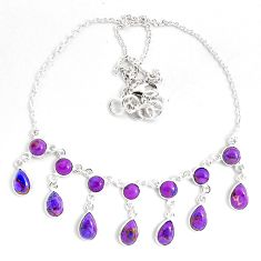 925 sterling silver 20.25cts purple copper turquoise necklace jewelry p40516