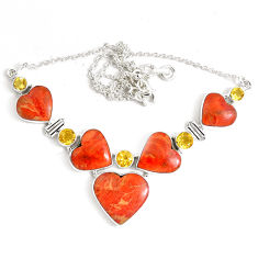 925 sterling silver 61.05cts red copper turquoise yellow citrine necklace p47439