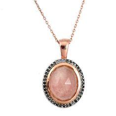 925 sterling silver natural orange morganite white topaz necklace a27263